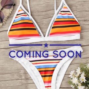 Striped Contrast Piping Triangle Top Bikini Bottom